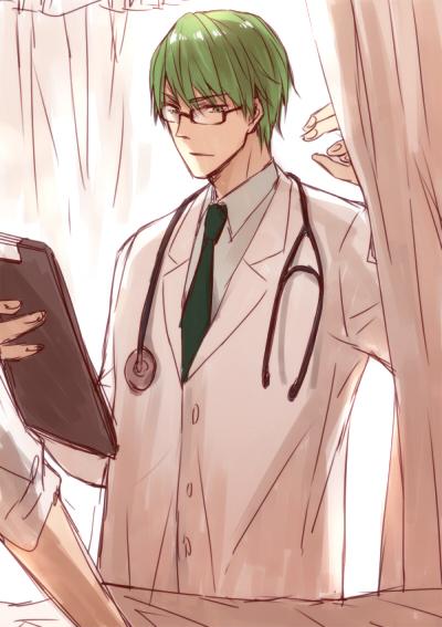 Tags: Anime, CK, Kuroko no Basuke, Midorima Shintarou, Doctor, Stethoscope, Clipboard, Fanart From Pixiv, Fanart, Mobile Wallpaper, Pixiv