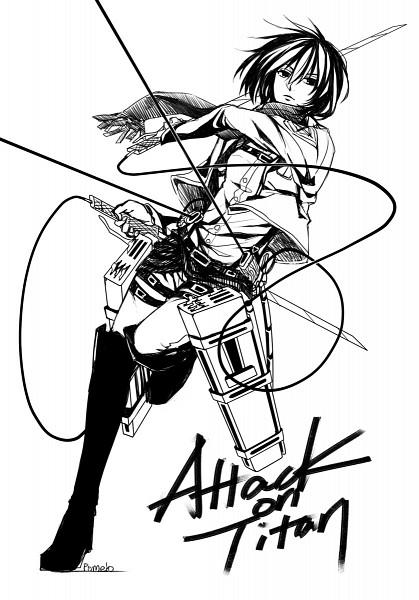 Tags: Anime, Pixiv Id 1198541, Shingeki no Kyojin, Mikasa Ackerman, Multiple Belts, Three Dimensional Maneuver Gear, Watermark