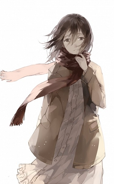 Tags: Anime, Nine (Pixiv3875056), Shingeki no Kyojin, Mikasa Ackerman, Buttons, Open Jacket, Red Neckwear