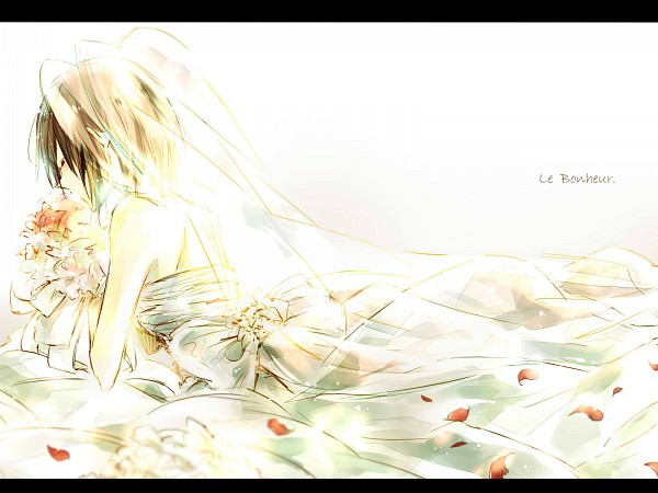 Tags: Anime, Pixiv Id 3130662, Shingeki no Kyojin, Mikasa Ackerman, French Text, Rose Petals, Bouquet