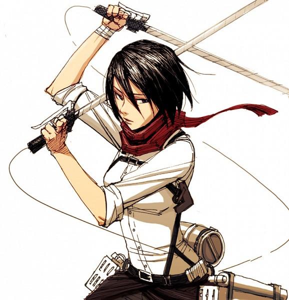 Tags: Anime, Pixiv Id 114170, Shingeki no Kyojin, Mikasa Ackerman, Dual Wield, Small Breasts, Dual Swords