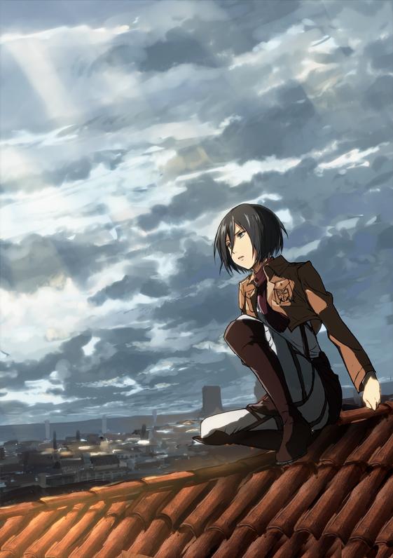 Tags: Anime, Ume (Plumblossom), Shingeki no Kyojin, Mikasa Ackerman, Roof, City, Crouching
