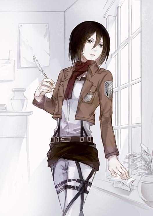 Tags: Anime, Cocoons, Shingeki no Kyojin, Mikasa Ackerman, Stationery, Pens, Holding Object