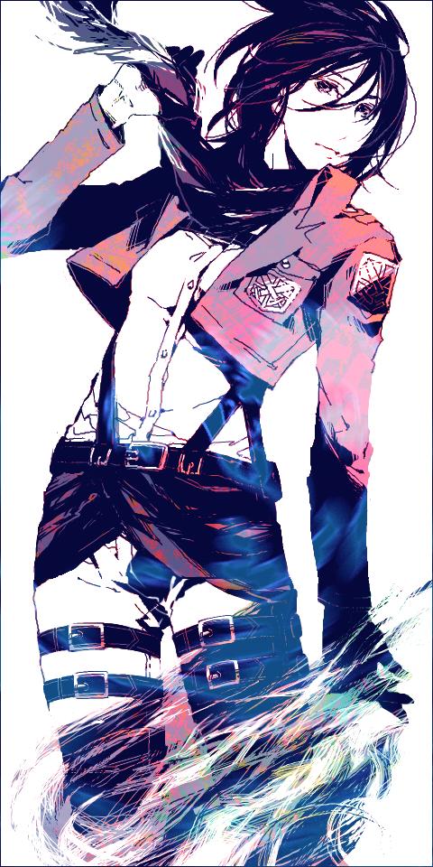 Tags: Anime, 15000 (Artist), Attack on Titan, Mikasa Ackerman, Adjusting Scarf, PNG Conversion, Pixiv, Fanart, Fanart From Pixiv