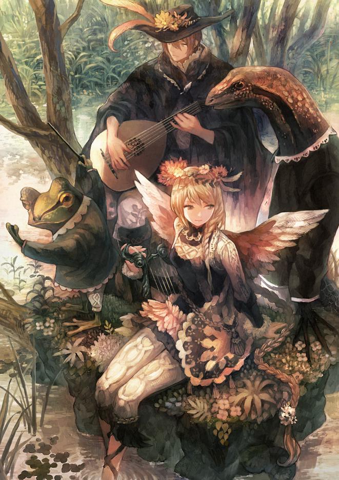 Tags: Anime, Mikebosi, Lute, Harp, Soaking Feet, Lizard, Leggings, Mobile Wallpaper, Comic Market 84, Pixiv, Comic Market