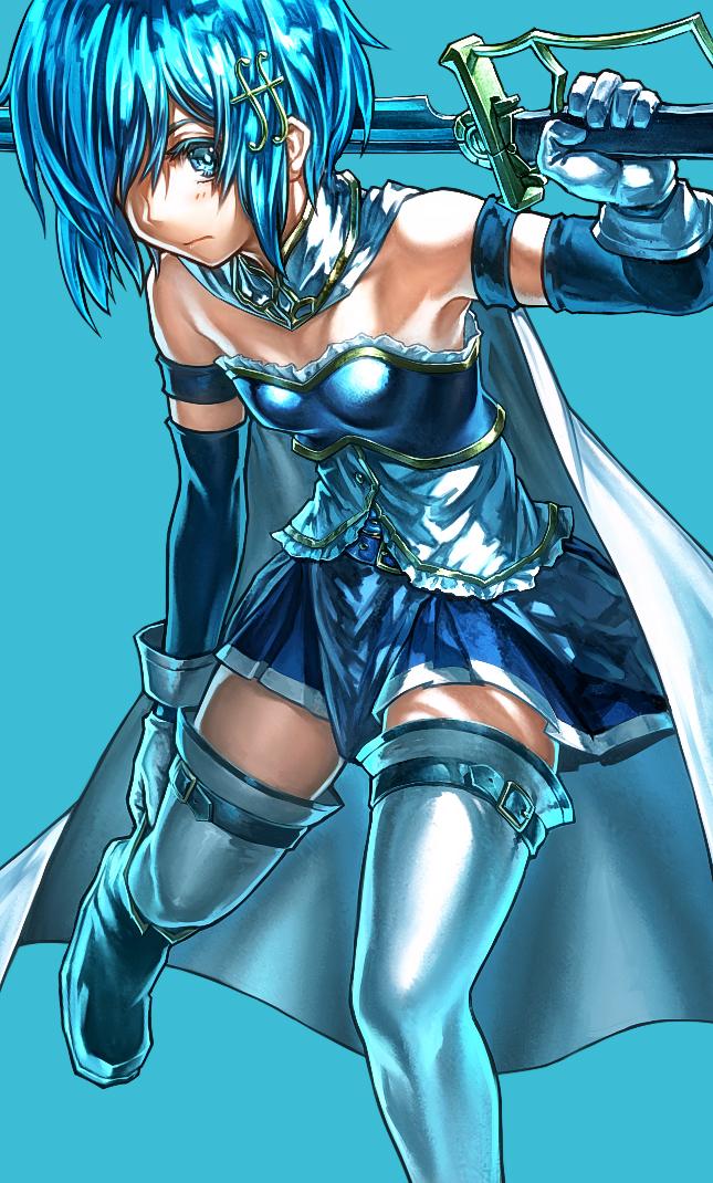 Tags: Anime, lain, Mahou Shoujo Madoka☆Magica, Miki Sayaka, Blue Armwear, Soul Gem, Mobile Wallpaper, Fanart From Pixiv, Pixiv, Fanart