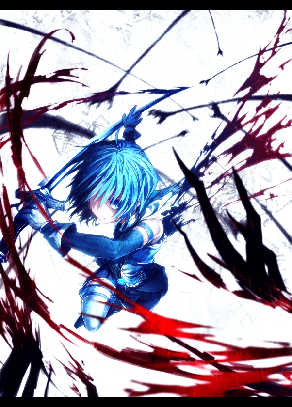 Tags: Anime, lain, Mahou Shoujo Madoka☆Magica, Miki Sayaka, Pixiv, Mobile Wallpaper, Fanart