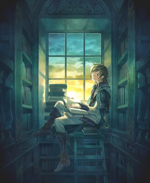 Tags: Anime, Minami Seira, Window, Library, Ladder, Elf, Sun