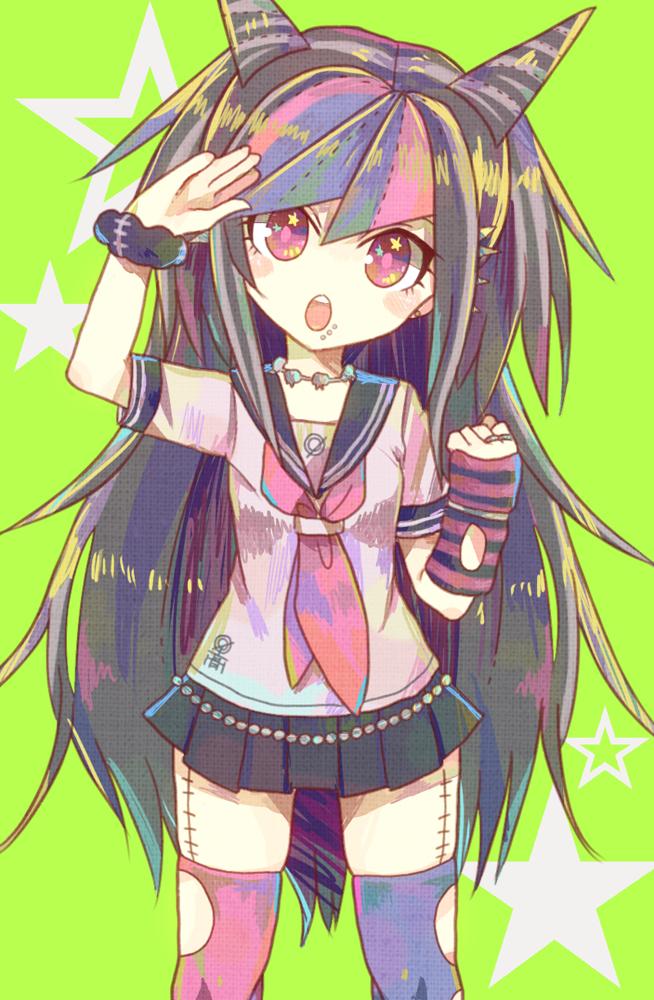 Tags: Anime, Pixiv Id 589810, Super Danganronpa 2, Mioda Ibuki, Striped Armwear, PNG Conversion, Pixiv, Fanart, Mobile Wallpaper, Fanart From Pixiv