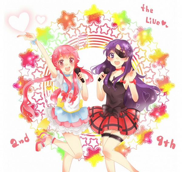 Tags: Anime, Pixiv Id 2943202, Mirai Nikki, Gasai Yuno, Uryuu Minene, Arms Up, Ribbon Choker