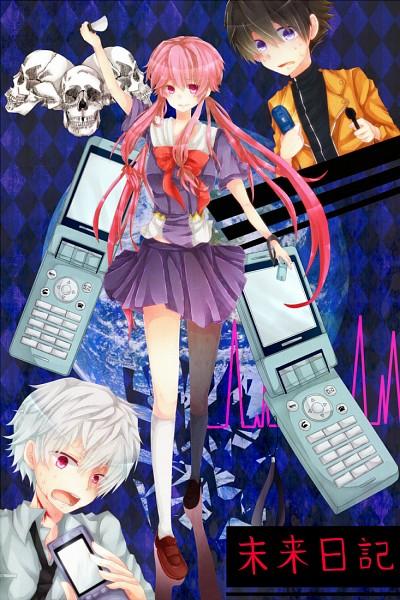 Tags: Anime, Goma (Ro-Rukixyabet), Mirai Nikki, Gasai Yuno, Akise Aru, Amano Yukiteru, Skull