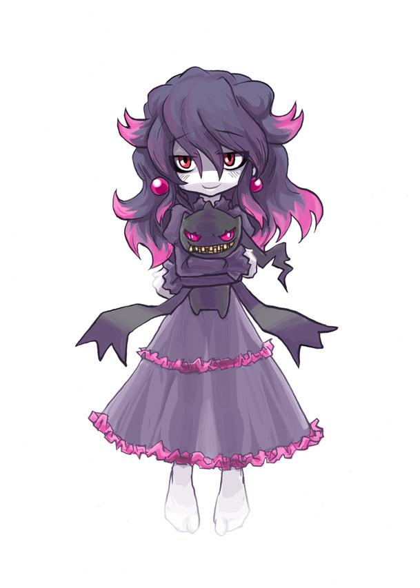 Tags: Anime, Kobayashi Tetsuya, Pokémon, Misdreavus, Banette, Hugging Toy, Mobile Wallpaper, Fanart