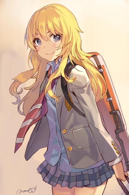 Tags: Anime, Momoko (Momopoco), Shigatsu wa Kimi no Uso, Miyazono Kaori, Instrument Case, Violin Case, PNG Conversion, Mobile Wallpaper