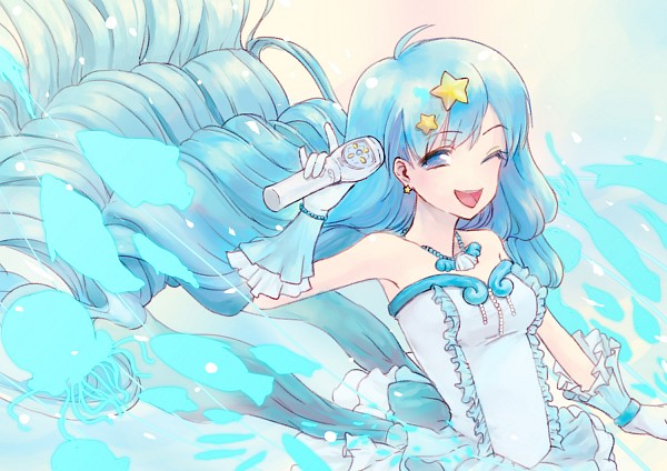 Tags: Anime, Mermaid Melody Pichi Pichi Pitch, Houshou Hanon, Microphone, Wavy Hair, Mizuiro Pearl Voice, Pixiv Id 1249526