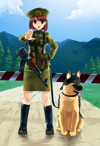Tags: Anime, Mizuki Ame, Path, Hand on Hip, Soldier, Holding Object, Forest