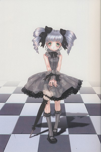 Tags: Anime, Mizusawa Hikaru, Closed Umbrella, Checkered Floor, Holding Umbrella, Bare Knees, Knee High Socks