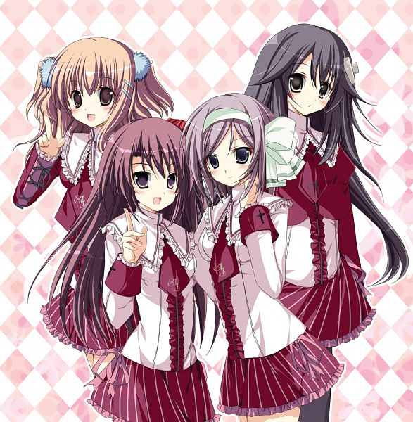 Tags: Anime, Four Girls, Mizusawa Mimori, V Gesture, Checkered, Checkered Background