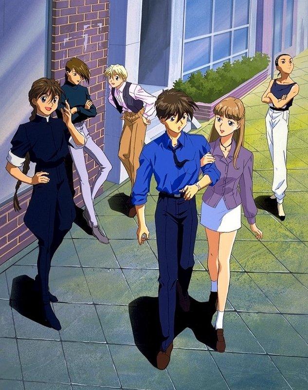 Tags: Anime, Mobile Suit Gundam Wing, Relena Peacecraft, Quatre Raberba Winner, Heero Yuy, Trowa Barton, Duo Maxwell, Chang Wufei, Scan, Official Art