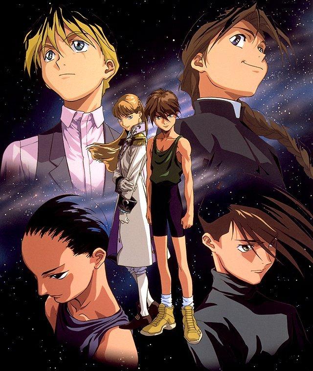 Tags: Anime, Mobile Suit Gundam Wing, Duo Maxwell, Chang Wufei, Relena Peacecraft, Quatre Raberba Winner, Heero Yuy, Trowa Barton, Official Art, Scan
