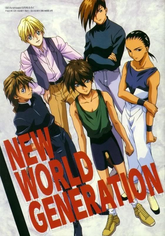 Tags: Anime, Sunrise (Studio), Mobile Suit Gundam Wing, Heero Yuy, Trowa Barton, Duo Maxwell, Chang Wufei, Quatre Raberba Winner, Scan, Official Art, Animage, Magazine (Source)