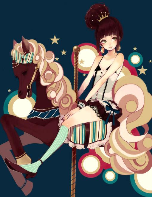 Tags: Anime, Mokaffe, Horseback Riding, Carousel, Pixiv