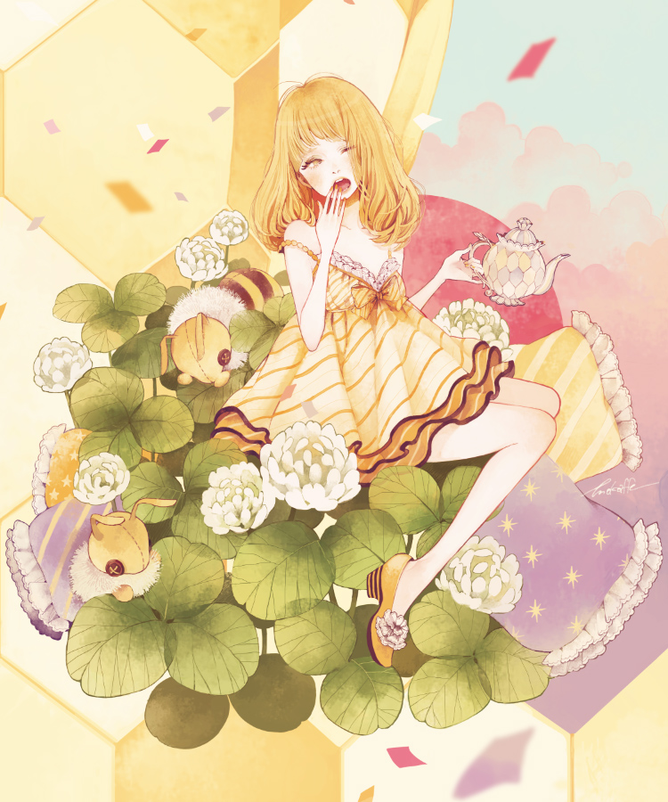 Tags: Anime, Mokaffe, Yawn, Clover (Plant), Bee, Stuffed Bee, Kettle, Original, Pixiv