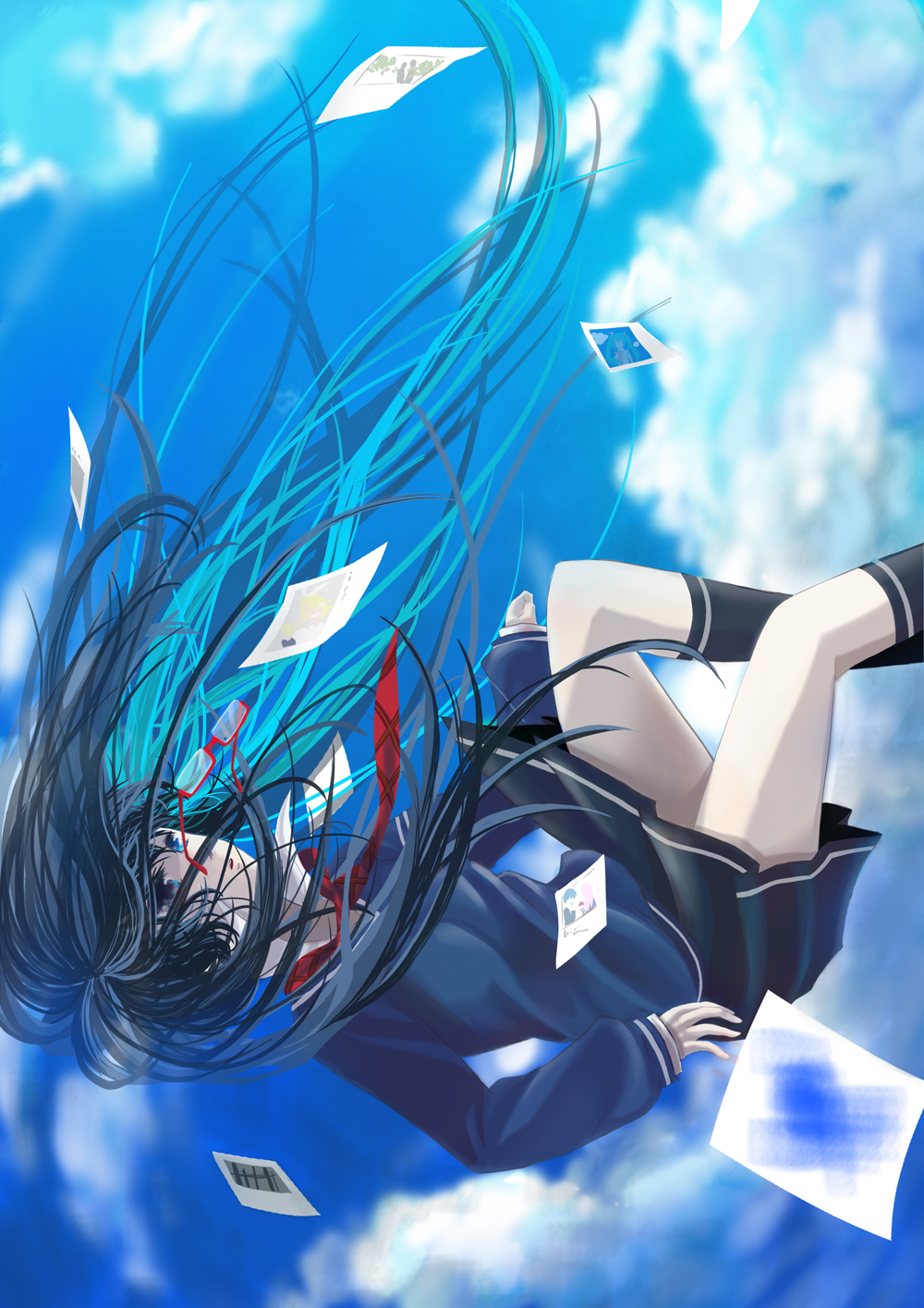 Anime Girl Falling From The Sky