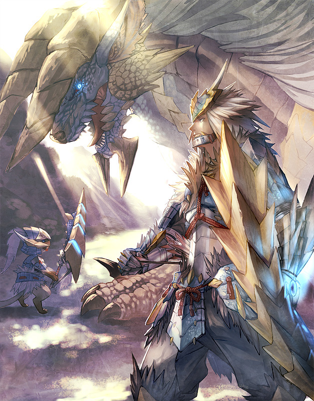 Tags: Anime, Monster Hunter: Third Generation, Monster Hunter Series, Zinogre, Felyne, Zinogre (Armor)