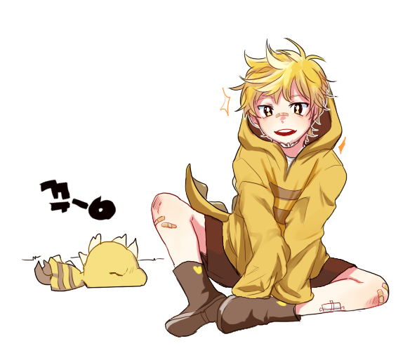 Tags: Anime, Coda (Artist), Undertale, Monster Kid, Yellow Hoodie, Patch On The Nose, Yellow Outerwear, Brown Shorts, Fanart, Requested Upload, PNG Conversion, Twitter