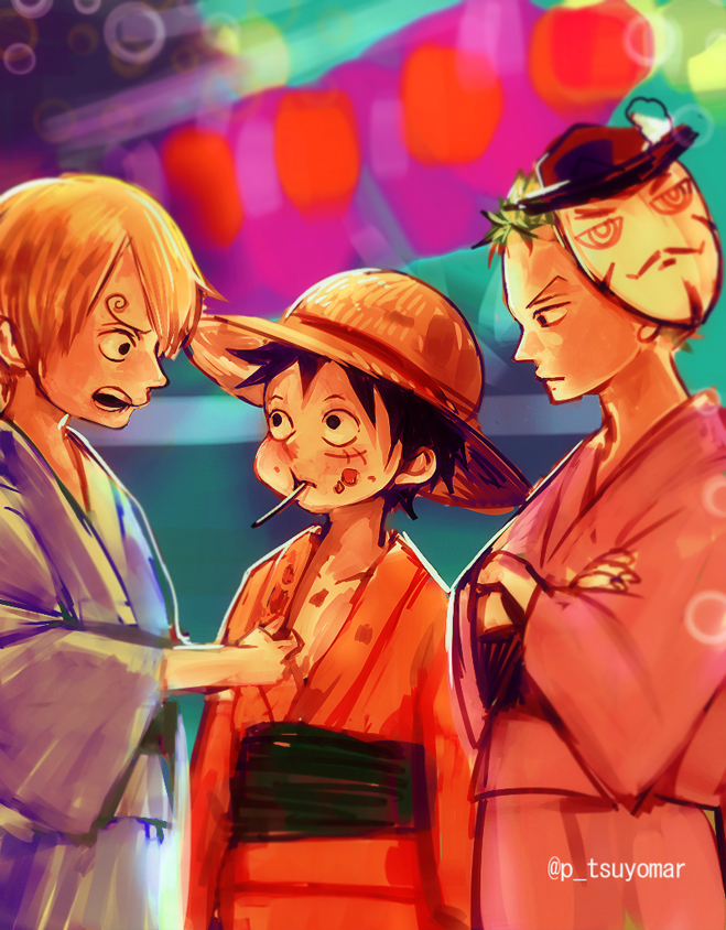 Tags: Anime, Tsuyomaru, ONE PIECE, Dracule Mihawk, Monkey D. Luffy, Roronoa Zoro, Sanji, Pixiv, Fanart, Fanart From Pixiv, Monster Trio