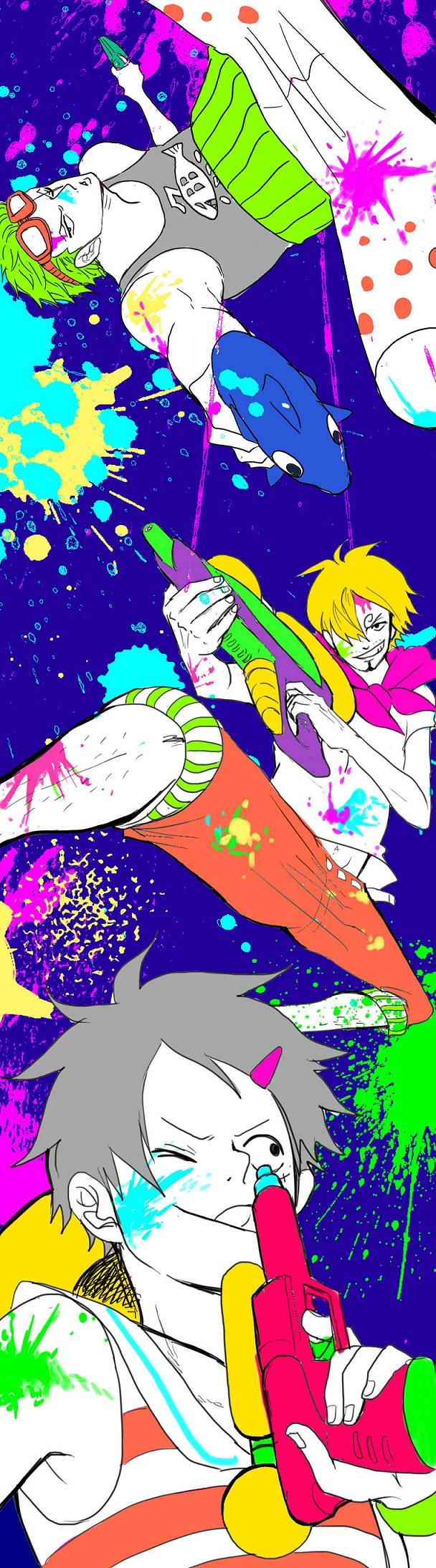 Tags: Anime, Daishou (Hiroto), ONE PIECE, Sanji, Monkey D. Luffy, Roronoa Zoro, Pixiv, One Piece: Two Years Later, Straw Hat Pirates, Monster Trio