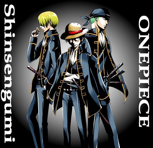 Tags: Anime, Pixiv Id 2370329, ONE PIECE, Gintama, Sanji, Monkey D. Luffy, Roronoa Zoro, Pixiv, Fanart, Straw Hat Pirates, Monster Trio