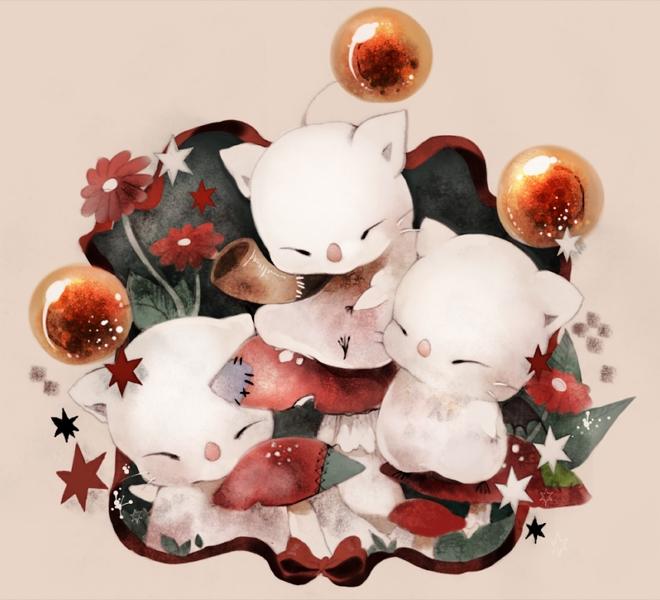Tags: Anime, Piyocir, SQUARE ENIX, Moogle, Beige Background, Pixiv, Fanart From Pixiv, Fanart