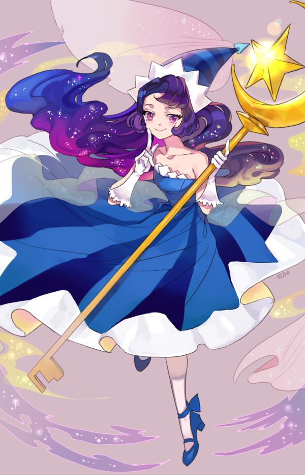 Tags: Anime, Evan927, Cookie Run, Moonlight Cookie, Hennin, Vertical-striped Dress, Twitter, PNG Conversion, Fanart, Mobile Wallpaper