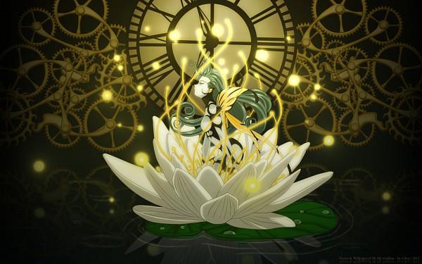 Tags: Anime, Aah! Megami-sama, Morgan Le Fay (Megami-sama), Widescreen 16:10 Ratio, Clock, Lotus (Flower), 2560x1600 Wallpaper