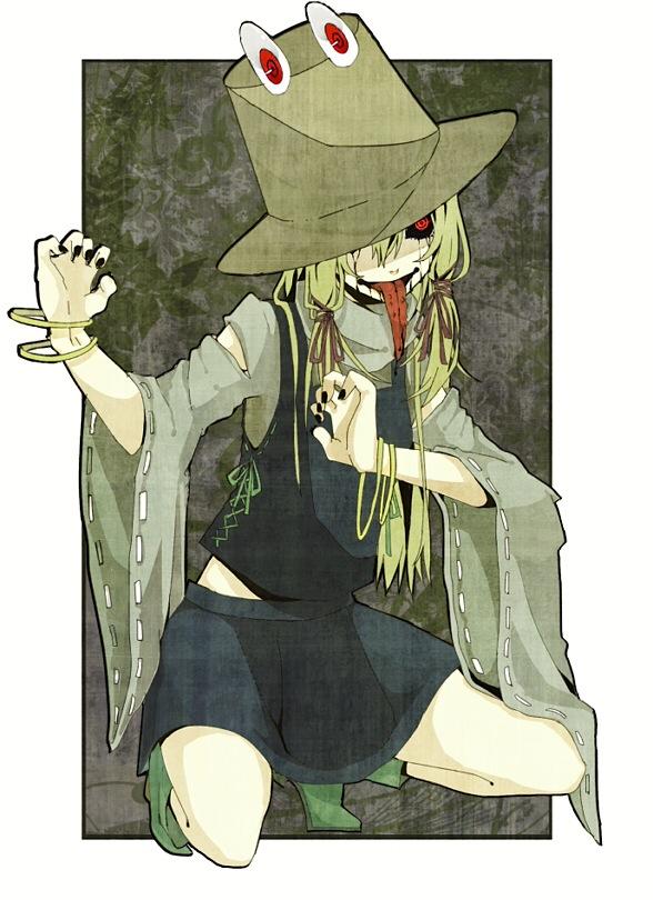 Tags: Anime, Pixiv Id 825317, Touhou, Moriya Suwako, Creepy Smile, Frog Hat, Mobile Wallpaper, Fanart, Pixiv, Suwako Moriya