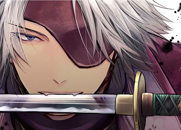 Tags: Anime, Pixiv Id 1588756, Sengoku Basara, Motochika Chosokabe (Sengoku Basara), Mouth Hold, Weapon In Mouth, Close Up