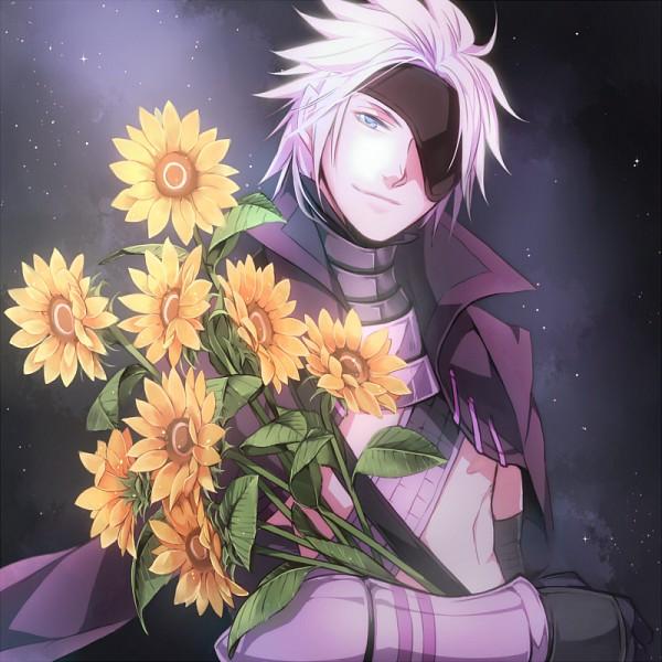 Tags: Anime, Pixiv Id 732191, Sengoku Basara, Motochika Chosokabe (Sengoku Basara), Yellow Flower, Purple Outfit, Sunflower