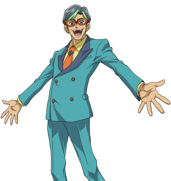 Tags: Anime, Studio Gallop, Yu-Gi-Oh!, Yu-Gi-Oh! ZEXAL, Mr. Heartland, Orange Neckwear, Aqua Outerwear, Teal Pants, Official Art, PNG Conversion