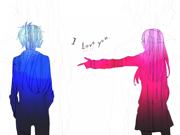 Tags: Anime, Mukaiyama, 800x600 Wallpaper, Pointing, Text: I Love You, Confession