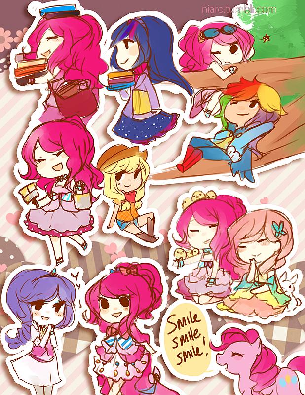 Tags: Anime, Niaro, My Little Pony, Rarity, Rainbow Dash, Pinkie Pie, Applejack, Angel (My Little Pony), Fluttershy, Twilight Sparkle, Bright Colors, Pony, Cowboy Hat