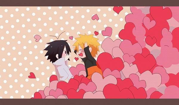 Tags: Anime, Pixiv Id 3554337, NARUTO, Uchiha Sasuke, Uzumaki Naruto, Spotted Background, Valentines