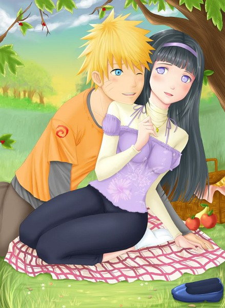 Tags: Anime, NARUTO, Hyuuga Hinata, Uzumaki Naruto, Under A Tree, Picnic, Contemporary