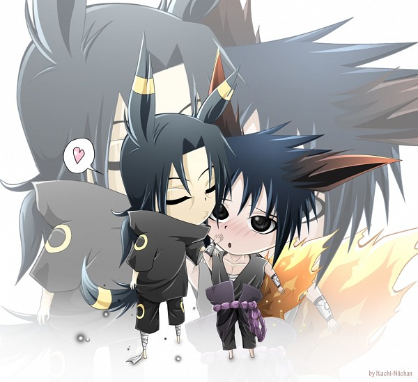 Tags: Anime, NARUTO, Uchiha Itachi, Uchiha Sasuke, Umbreon (Cosplay), Low Ponytail, Flareon (Cosplay)