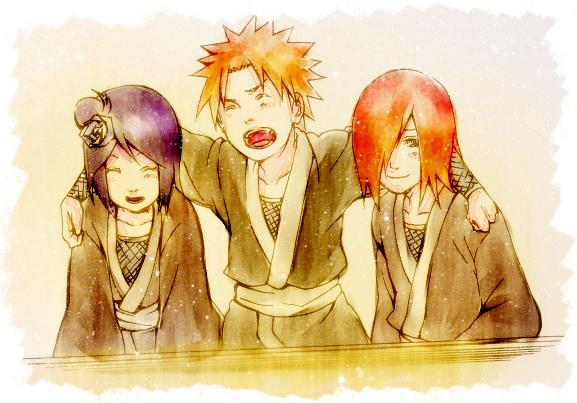 Tags: Anime, Pixiv Id 263480, NARUTO, Nagato (NARUTO), Yahiko, Konan, Arm Around Shoulder