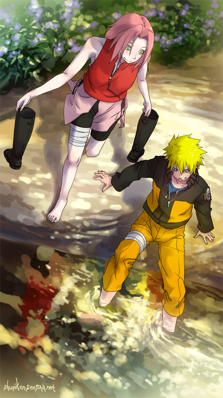 Tags: Anime, Shuriken01, NARUTO, Haruno Sakura, Uzumaki Naruto, Soaking Feet, Mobile Wallpaper