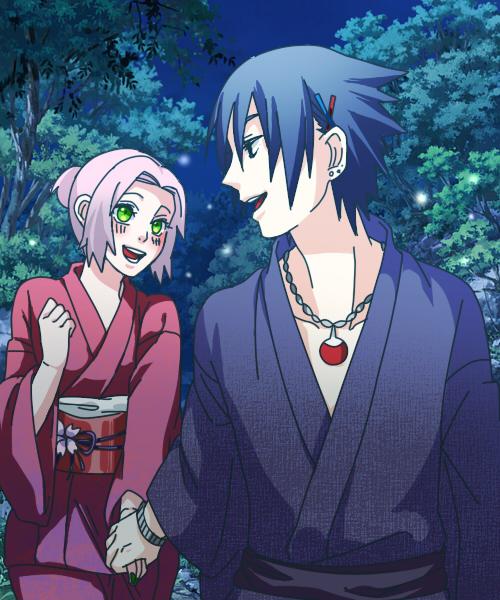 Tags: Anime, Pixiv Id 4368774, NARUTO, Uchiha Sasuke, Haruno Sakura, Uchiwa, Fan