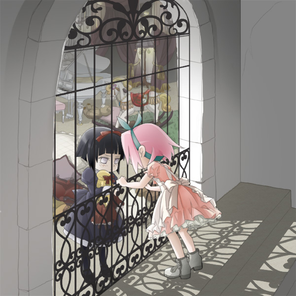 Tags: Anime, Pixiv Id 3345190, NARUTO, Hyuuga Hinata, Haruno Sakura, Gate, Rug, Rocking Horse, Chandelier