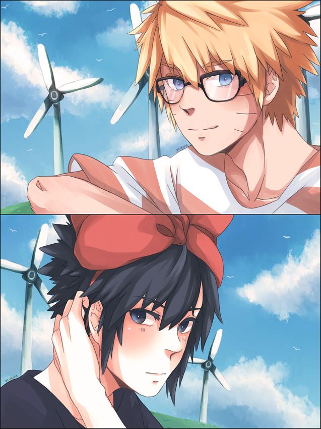 Tags: Anime, Yunho-jaejoong, Majo no Takkyuubin, NARUTO, Uchiha Sasuke, Uzumaki Naruto, Wind Turbine, Tombo (Cosplay), Kiki (Majo no Takkyuubin) (Cosplay), Majo no Takkyuubin (Parody), NaruSasu