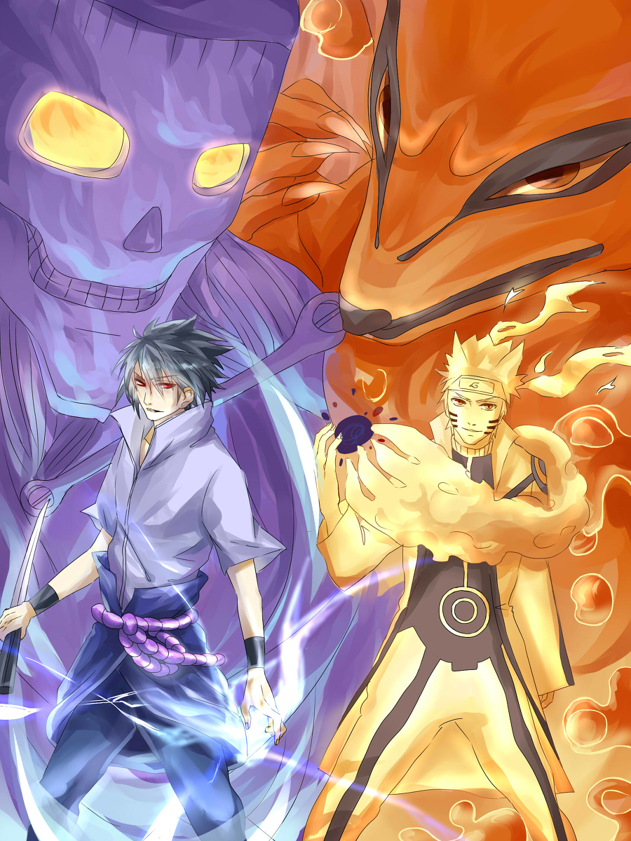 Bijuu Mode vs Susanoo – Naruto vs Sasuke | Daily Anime Art